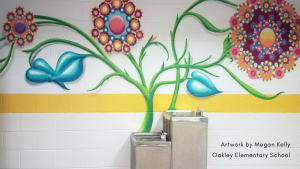 """Oakley Elementary: """"The Leader in Me"""" collaborative mural project. Artwork by Megan Kelly."""