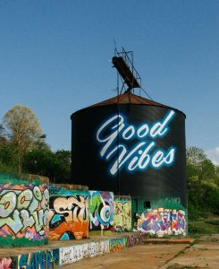 Good Vibes mural by Ian Wilkinson