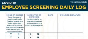 Employee Screening Daily Log